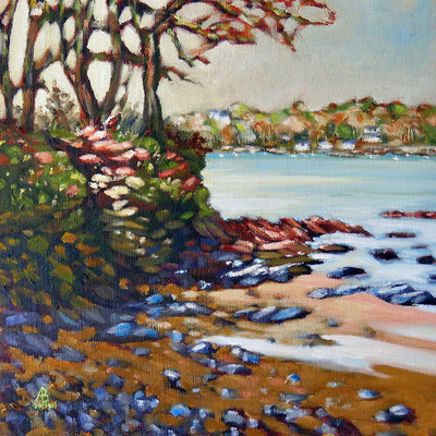 Winter, Helford River, Cornwall - Oil on canvas board, 12 x 12 inches (30 x 30 cm).