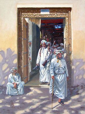 Gunseller, old souk, Nizwa - Oil on canvas board - Sold to private customer