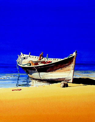Beached boat, Oman - Sold at Mall Galleries exhibition, London