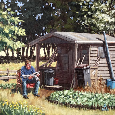 Isolation: Working at the Allotment! - Acrylic, 8 x 8 inches (20 x 20 cm).  Highly Commended, Salisbury Group of Artists exhibition 2021
