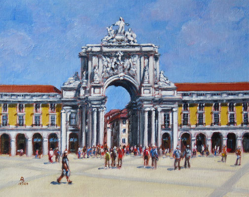 Rua Augusta Arch, Lisbon - Oil,, 8 x 10 inches (25 x 20 cm).