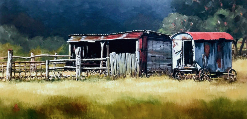 Sheep shed and shepherd's hut - Oil, 8 x 16 inches (20 x 41 cm).  Private client.  Special Recognition, Light Space & Time worldwide competition, 2021.