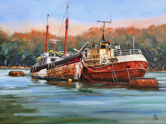Old Shipmates, River Fal, Cornwall - Oil, 12 x 16 inches (30 x 40 cm).  10th Place Light Space & Time worldwide Seascape competition 2021 (Paint and Other Media)