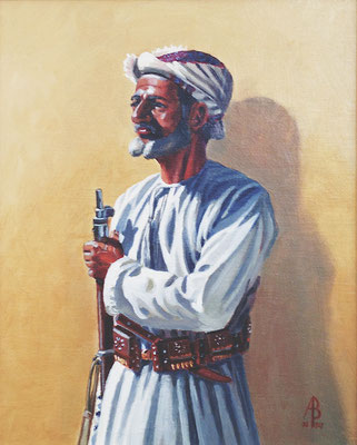 Askari, Nizwa (fascinating nose!) - Oil on canvas board, 10 x 8 inches (25 x 20 cm).  Through Studio Sale Jan 2019