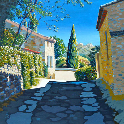 Seguret, Provence - Acrylic.  MacGregor Gallery, Glasgow.  Loveday Trophy, Best of Hampshire exhibition.  Highly Commended, Test Valley Arts