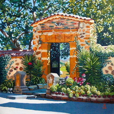 To a Secret Garden (large)- Oil on canvas board, 16 x 16 inches (40 x 40 cm).  Private client.