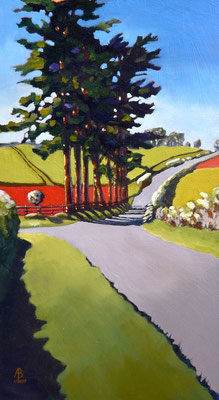 Poppy fields and country road - oil on canvas board, 9 x 16 inches (23 x 40 cm). Special Recognition Light Space & Time April 2017 competition: 658 entries from 19 countries.  Sold through gallery.