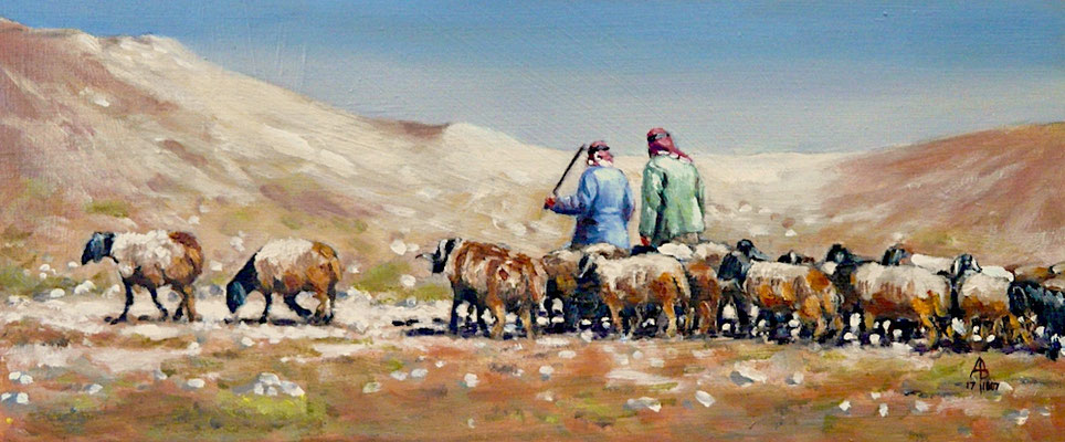 Syrian shepherds and flock - oil on gessoed card, 5 x 12 inches (13 x 30 cm).  Private client