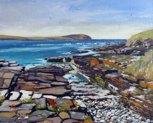 Eynhallow Sound from Rousay, Orkney - Oil on MDF 8 x 10 inches (230 x 25 cm).  Art in the City exhibition