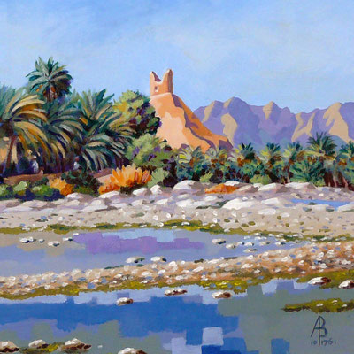 Wadi and Ruined Tower, Oman - Acrylic.  Private client