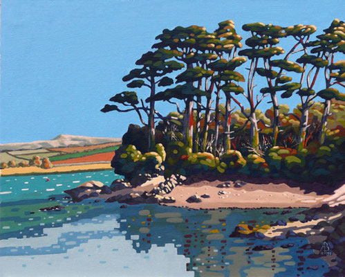 Pines on the River Camel, Cornwall - Acrylic on canvas board, 18 x 22 inches.  Private client