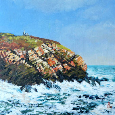 The Huer's hut, Cadgwith, South Cornwall - Acrylic on card, 8 x 8 inches (20 x 20 cm).  £345 with frame.