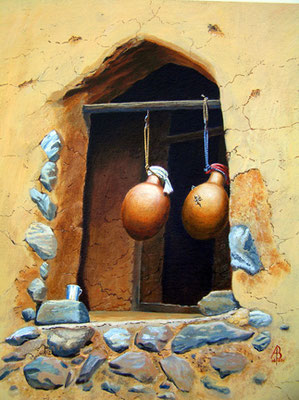 Waterpots and gekko, Oman - Acrylic on heavy paper.  Private client