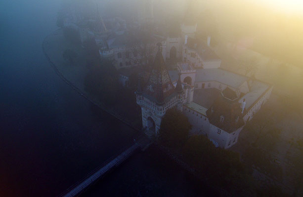 Laxenburg im Nebel, Luftaufnahme