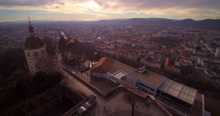 Graz, Schlossberg - Luftaufnahme