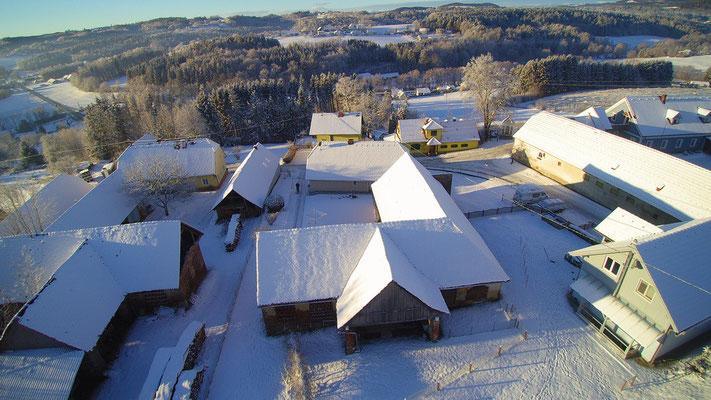 Frindorf im Winter, Luftaufnahme