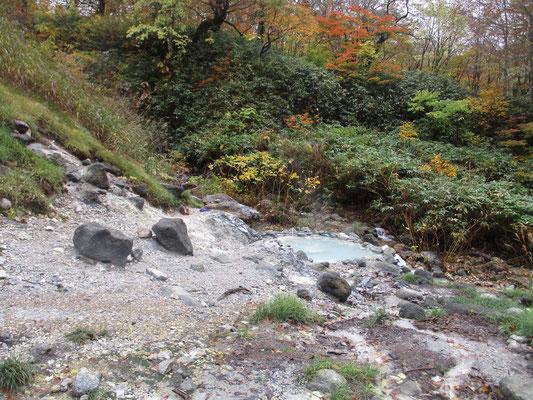 ひと登りすると「一本松温泉」にでます 昔は施設があったらしい場所には、入れそうな野湯が・・・