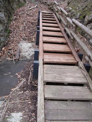 下山道の板階段が修繕されていた