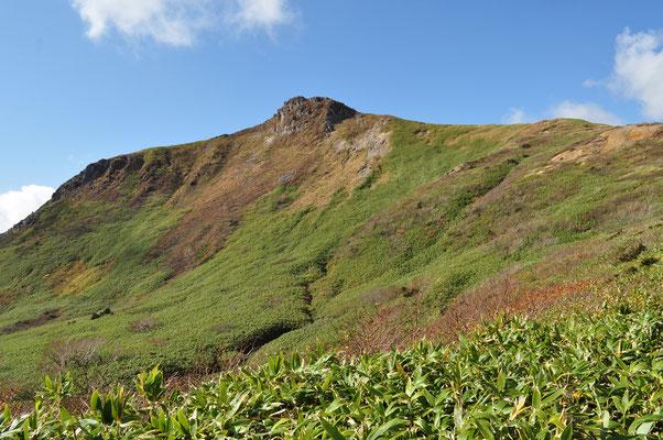時間の余裕があるので、眼下に広がる湿原や笹原を向かいの笹森山に向かって二時間ほどの散策 反対側からの乳頭山の姿