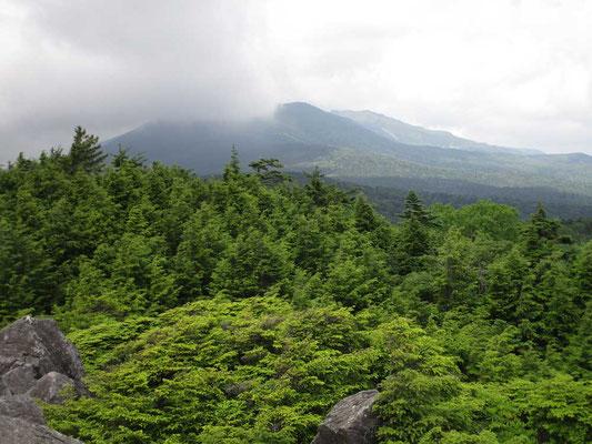 高見石から北側の茶臼山や縞枯山はガスがかかっていました