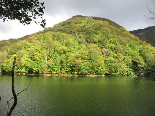 十二湖の辺りでは、まだ対岸は黄葉前