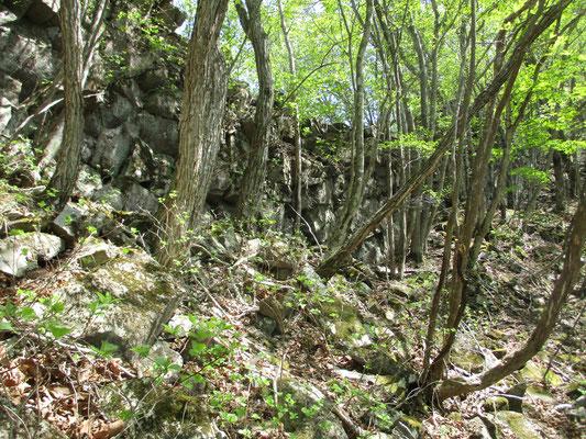 途中、人工的に石組みしたような岩場がありました 火山活動の名残と思いますが不思議な岩稜です