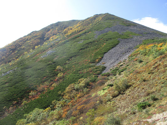 いよいよ下山開始 振り返り、紅黄葉と這松の美しい常念岳に別れを告げる