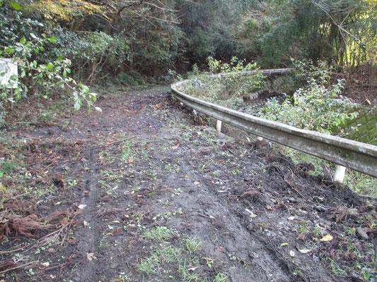 登山道入り口の林道(簡易舗装だった)が完全に泥で埋め尽くされている 台風の大雨では沢で処理し切れなかった山からの水が登山道や林道にも川のように流れたことが分かる