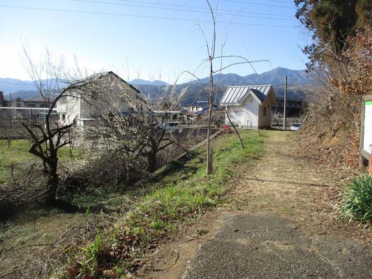 向嶽寺の境内を通り抜け、裏手のお墓を通り抜けて塩ノ山の遊歩道を周回すると、出発点に戻る 白い建物はトイレ