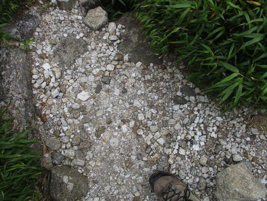 タイルを敷き詰めたような石英の散りばめられた登山道