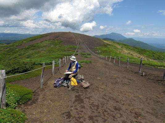 そこでも一枚 秋田駒ヶ岳の男女岳を描く