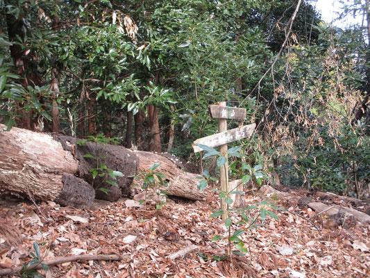 これもかつての登路の標識 昔は里から幾本もの登山道が西山の各山頂に通じていて、住民の生活が山とも密接に繋がっていたことが分かる
