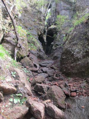登っているときに見上げた岩峰の基部