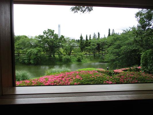 茶室からの眺め 緑の向こうに見える建造物がどうやらDIC(旧・大日本インキ科学工業)の会社のようです