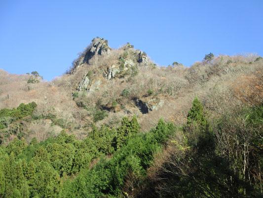 岩場記号の山並み、左右非対称の地形が続きます