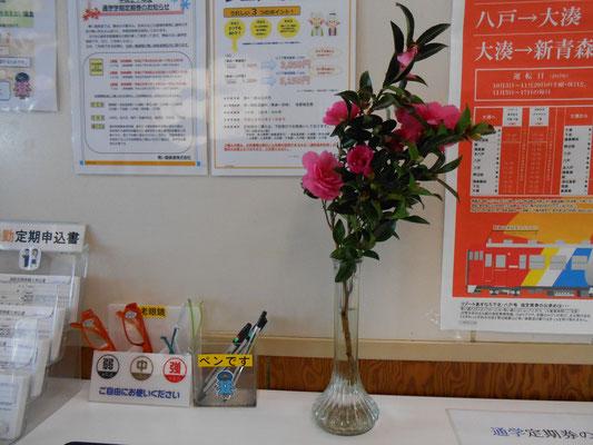 八戸駅の一隅 机の上には山茶花が飾られていました