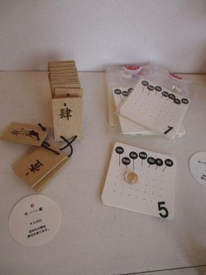 森キヲノリ:小さな天眼鏡にて数字を大きくします 丸い天眼鏡が置いてあるところが「今日」 左のは木製の札 きれいな旧字の数字が刻印されています