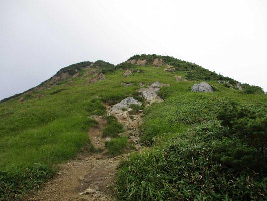 真下から見上げる笠ヶ岳山頂の方
