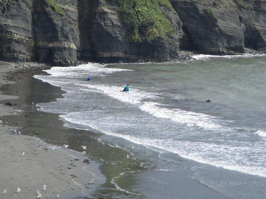 幌戸からすこし行くと次の集落がありますが、浜を見下ろすところからは昆布漁をしている人が三人 過酷な仕事です