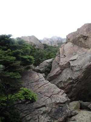 岩場の急登を越えて山頂に向かう