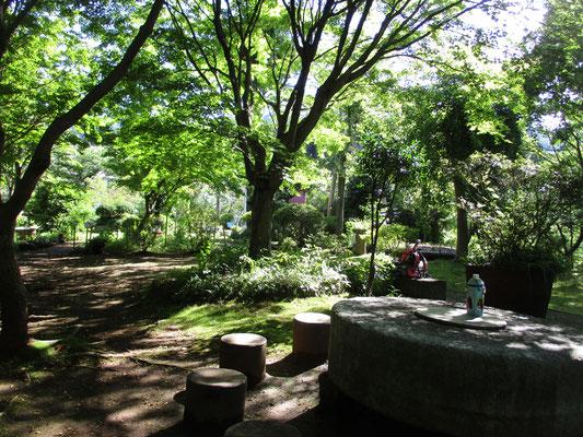 最後はいつもの会のベース 沓掛館山の庭にて打ち上げ あぶられるような熱射の車道歩きから一変、この木陰に入ると天然クーラーの威力を満喫です