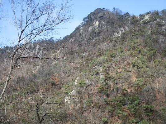 たまたま見ることが出来た、それまで居た山の姿 とても600m足らずの山とは思えない