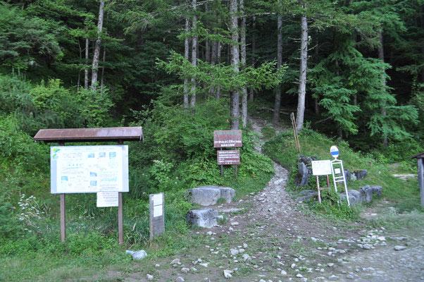 鳥倉林道の駐車場から50分ほど歩くと登山口に到着
