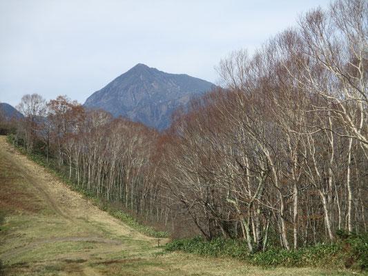 登りながら振り返ると高妻山がピラミダルに見えます