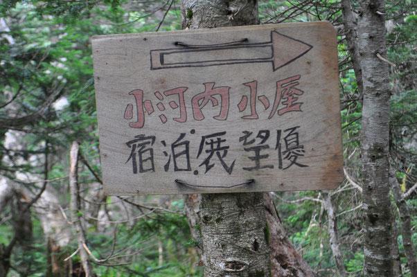 三伏峠から烏帽子岳を経由して小河内岳に向かう縦走路への案内板 ちょっと不思議な字ですが、言いたいことは伝わってきます 一度、その先はいいのでここだけ訪ねたいです