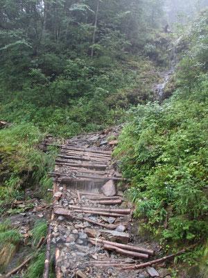 登山道がほぼ水路状態