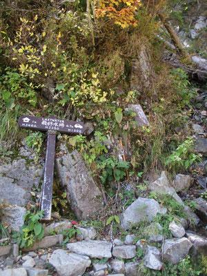 登りでは疲労困憊だった地点の「最終水場」