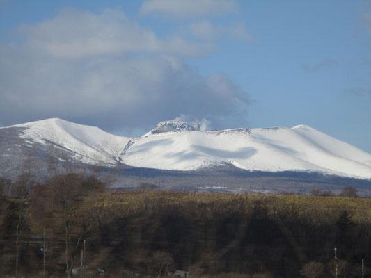 中央の盛り上がりは1909年の噴火によるところの溶岩ドームで活火山