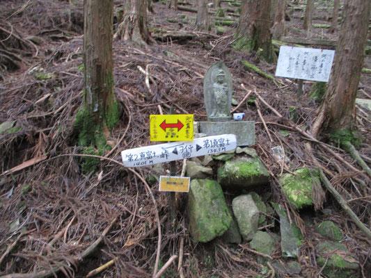 沢を越えると再びの植林帯で、しばらく行くとヲイ平という第1と第2真富士山の分岐点に出ました