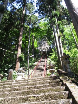 まずは登山口はこの神社の急階段を登っていきます